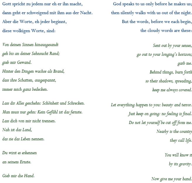 Rilke - Gott spricht